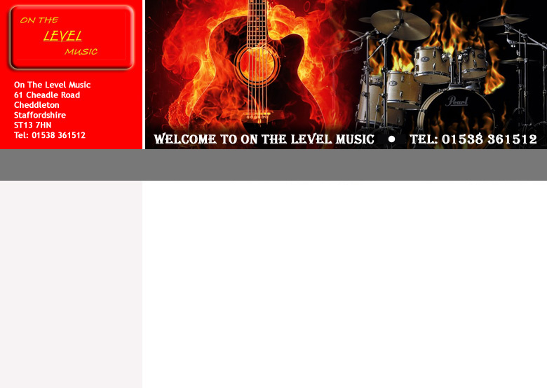 On the level music off guitar and drum lessons from their store in leek, stoke on trent, staffordshire.